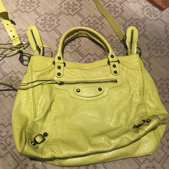 e908bf7df30 Balenciaga Bags | Authentic Velo Bag In Lime Yellow Used | Poshmark